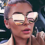 Mirrored Cat Eye Sunglasses - Sunglasses