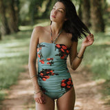 Tropical Print One Piece Bikini Swimsuit - Swimsuit