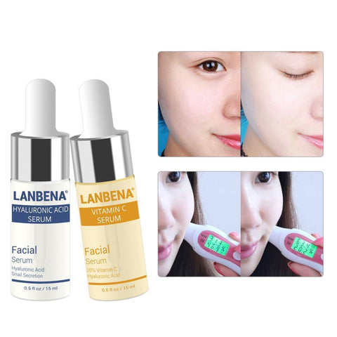 Vitamin C Facial Serum & Hyaluronic Acid Serum - Anti-aging