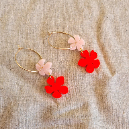 Flower Power | Pink + Neon Red