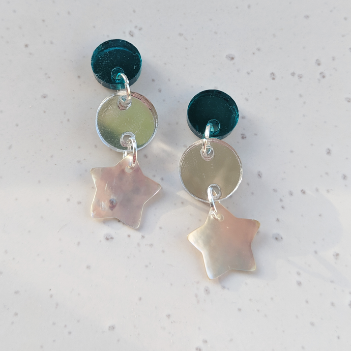 Zoe | Teal + Silver w Shell Star