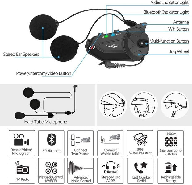 ILM Motorcycle Communication System HD Camera 6 Riders Group Intercom Moto Casco Helmet Bluetooth Headset Soft Cabel Mic Speaker for Motocross Motor Bike Skiing