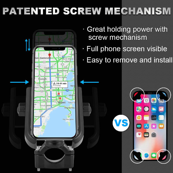 "ILM Bike Motorcycle Phone Mount Aluminum Bicycle Cell Phone Holder Accessories Fits iPhone X Xs 7 7 Plus 8 8 Plus iPhone 6s 6s Plus Galaxy S7 S6 S5 Holds Phones up to 3.7"" Wide"