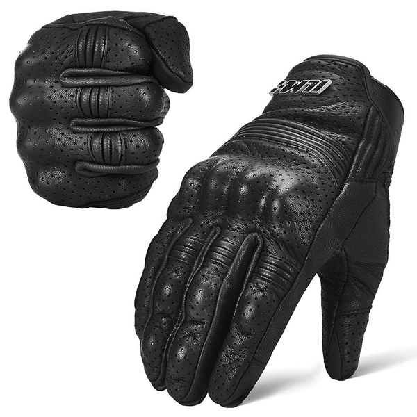 Goatskin Leather Motorcycle Motorbike Powersports Racing Gloves Touchscreen For Men and Women Black