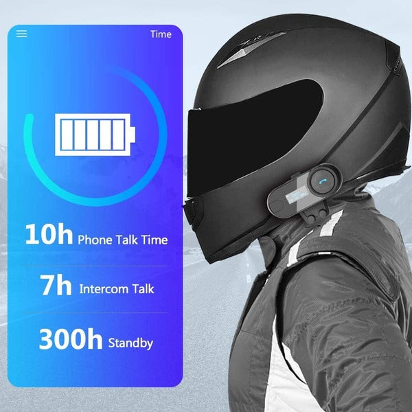 ILM Motorcycle Bluetooth Headset 3 Riders LCD Display Helmet 800M Communication Intercom Systems Soft Cabel Mic Speakers with FM Radio