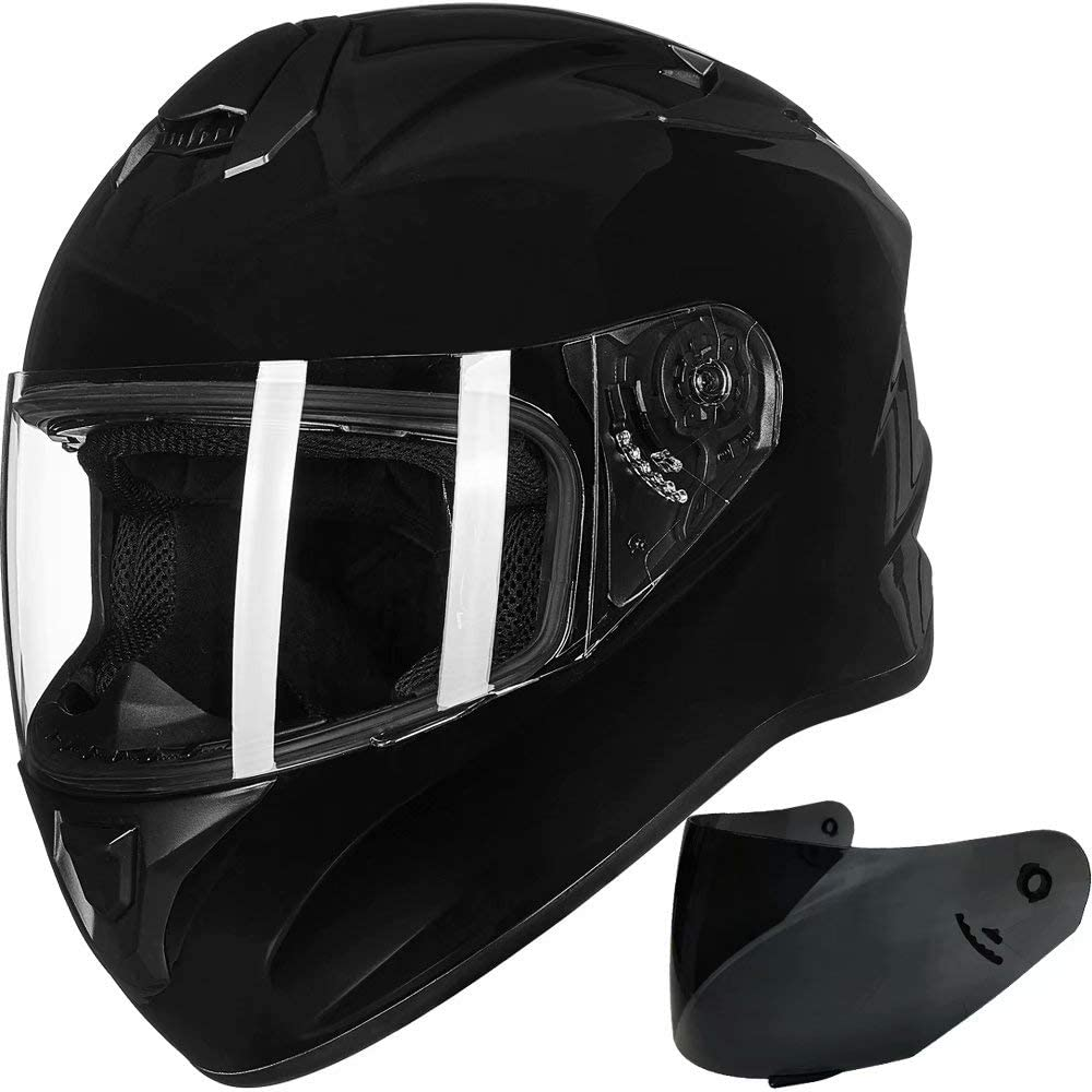 ILM Full Face Motorcycle Street Bike Helmet with Enlarged Air Vents, Free Replacement Visor for Men Women DOT Approved