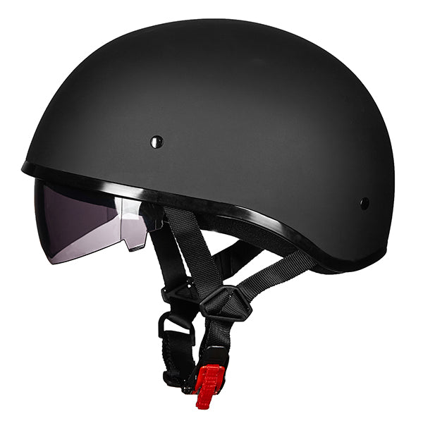 ILM Motorcycle Half Helmet with Sunshield Quick Release Strap Half Face Fit for Bike Cruiser Scooter DOT Approved