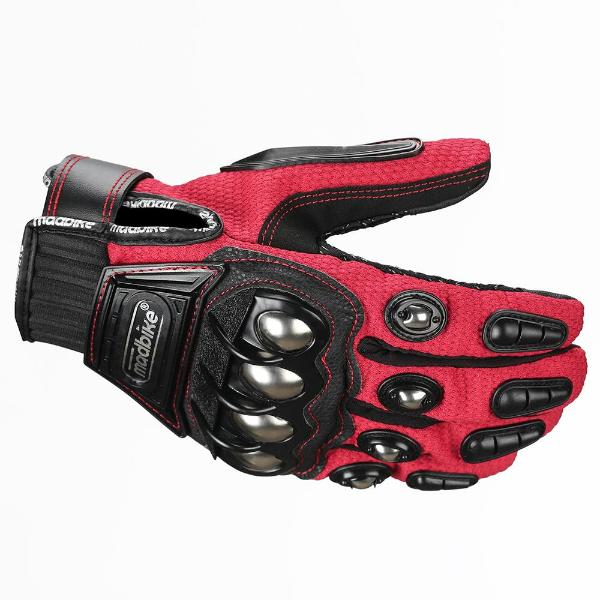 LEATHER ILM Alloy Steel Leather Hard Knuckle Touchscreen Motorcycle Bicycle Motorbike Powersports Racing Gloves RED M,
