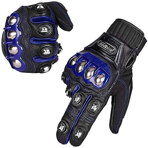 ILM Alloy Steel Leather Hard Knuckle Touchscreen Motorcycle Bicycle Motorbike Powersports Racing Gloves