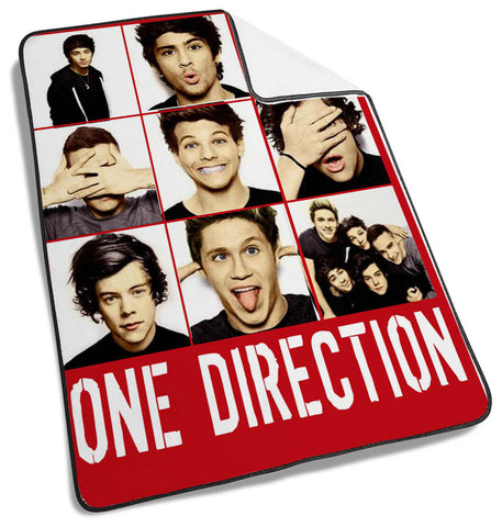 1D One Direction Funny Face Collage Blanket