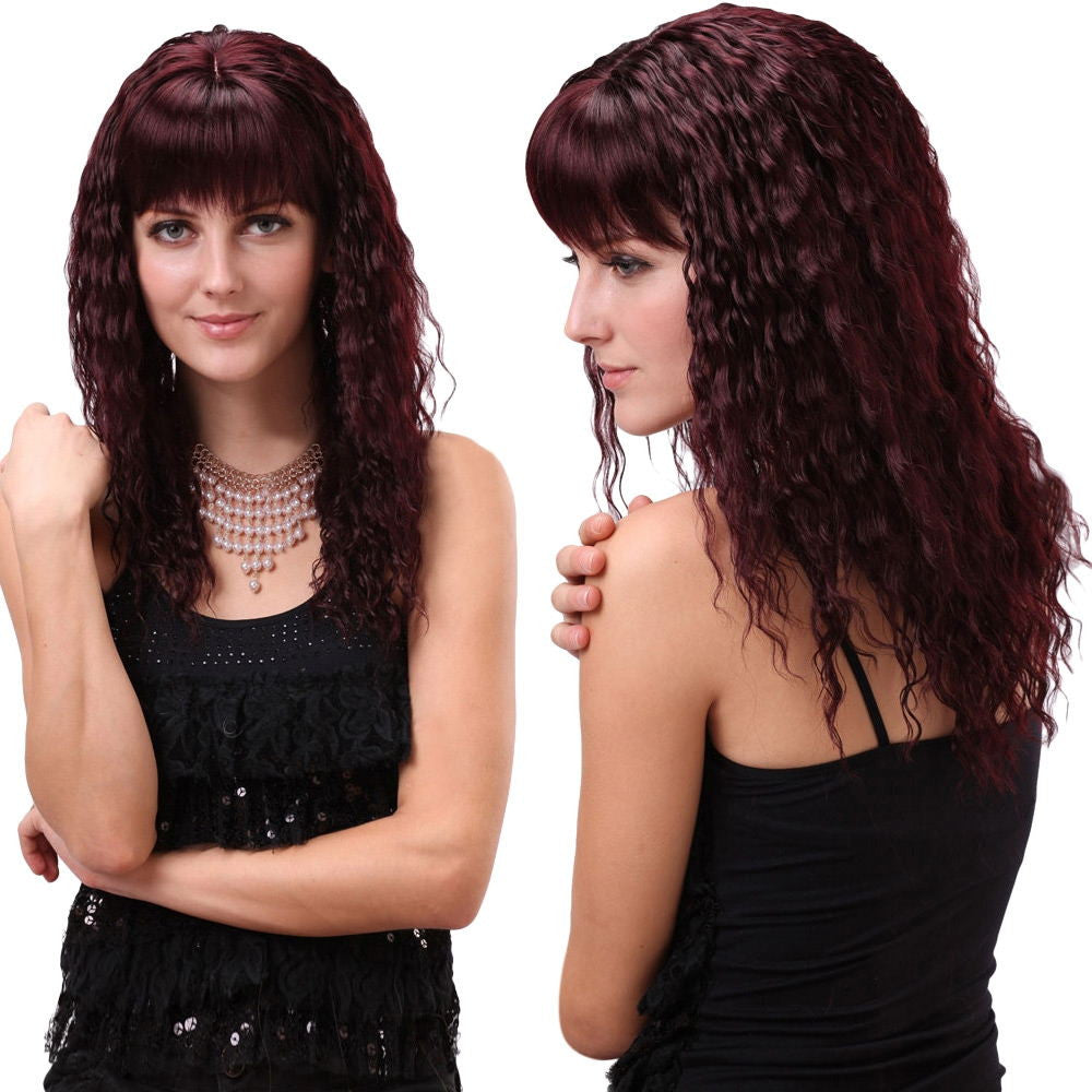 GORGEOUS LONG FULL BANG CURLY SYNTHETIC WIG