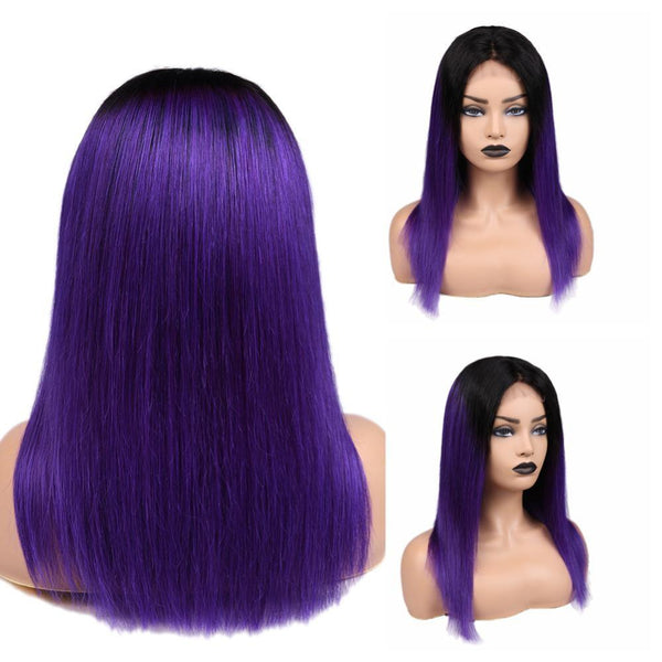 Brazilian Human Hair Wigs Straight Ombre Wigs With Baby Hair 4*4 Lace Front Human Hair Wig For Black Women 16inch 150% - RimeArodaky