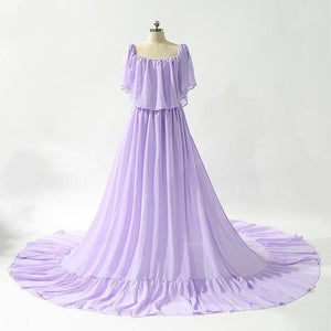 Purple Sleeveless Sexy Chiffon Wedding Dresses Pregnant Photography Simple Wedding Gowns Plus Size 2019 Serene Hill HA2044 - RimeArodaky