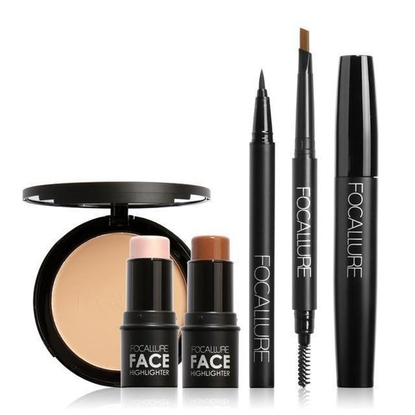 FOCALLURE 6Pcs Pro Eye Makeup Set Cosmetics with Golden Highlighter Sticker Eyebrow Pencil Mascara Tools - RimeArodaky