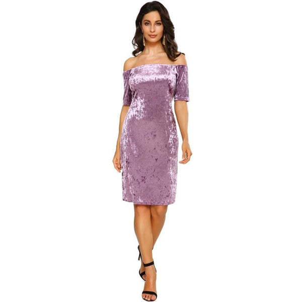 Sexy Women Velvet Dress Off Shoulder Slash Neck Party Night Club Bodycon Sheath Elegant Dress Purple - RimeArodaky