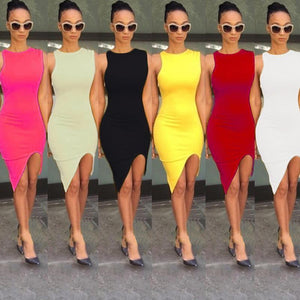 New Fashion Women Dress Solid Design Asymmetric Hem O-Neck Sleeveless Sexy One-piece - RimeArodaky