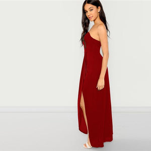 Burgundy Party Bandeau Off Shoulder Split Sleeveless Natural Waist Skinny Solid Dress Summer Elegant Sexy Women Dresses - RimeArodaky