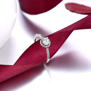 Sterling Silver Pandora Inspired Halo Simulated Diamond Ring - RimeArodaky
