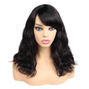 Brazilian Human Hair Wigs 14 Inches Natural Wavy Bob Wigs with Bangs Natural Color Short Wavy Human Hair Wigs for Women - RimeArodaky