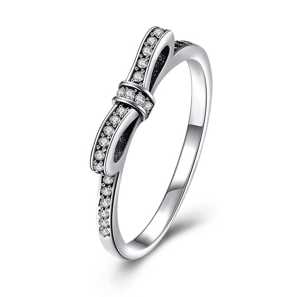 "Sterling Silver Pandora Inspired ""Pave Bow"" Ring - RimeArodaky"