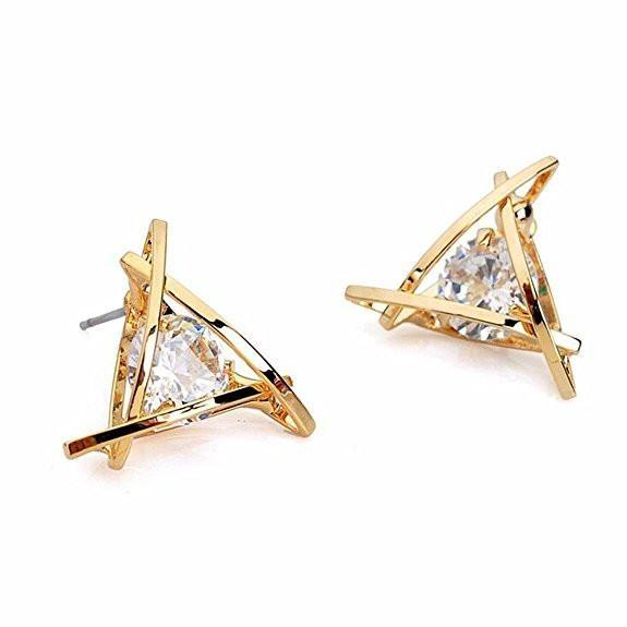 Fashion Exquisite Triangle Pierced Crystal Zircon Stud Earrings - RimeArodaky