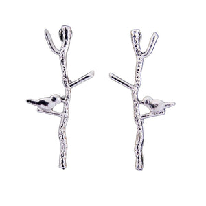 Tree branches lovely bird ear stud earrings for women - RimeArodaky