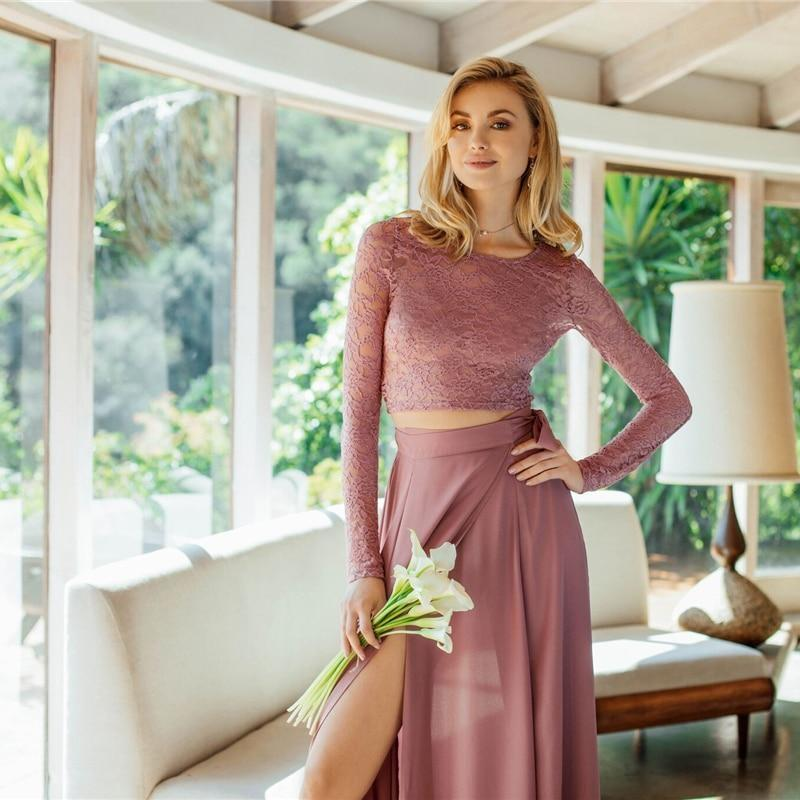 74bf99516693 SHEIN Pink Crop Lace Top & Knot Skirt Set Women Round Neck Long Sleeve Belt  Elegant Two Pieces Sets 2018 Spring Plain Twopiece