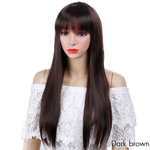 Long Straight Hair Wig With Bangs Black Brown Wigs For African American Women Cosplay Daily Synthetic Heat Resistant Wig SHANGKE - RimeArodaky