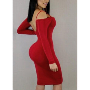 Women Sexy Off Shoulder Backless Dress Deep V Neck Bodycon Party Dress Clubwear - RimeArodaky