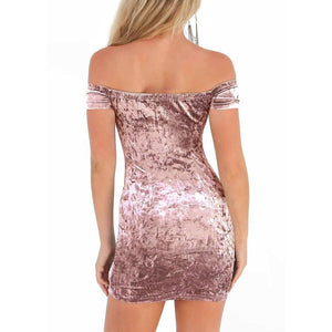 Women Bodycon Velvet Mini Dress Off Shoulder Short Sleeve Solid Nightclub Party Slash Neck Pencil Dress - RimeArodaky
