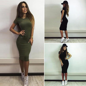 Fashion Women Pencil Dress Round Neck Short Sleeve Knee Length Bodycon Bandage Partywear Black/Dark Green - RimeArodaky