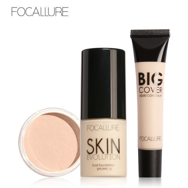 FOCALLURE Makeup Set Professional 3Pcs Make up Cosmetics Kit with Concealer Cream Foundation Cream and Setting Powder - RimeArodaky