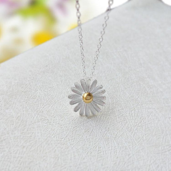 Daisy Sterling Silver Necklace Flower Nacklace Collarbone Necklace - RimeArodaky