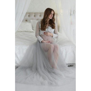 See Through Long Sleeves Tulle Wedding Dresses Pink and Blue  Pregnancy Photography Sexy Bridal Dress 2019 Real Photo HA2148 - RimeArodaky