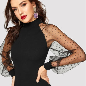 Party Black Pencil Bodycon Dress With Jacquard Contrast Mesh Lantern Sleeve Spring Women Long Sleeve Solid Dresses - RimeArodaky