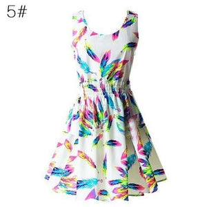 Summer Size Vest Dress Printed Skirt Sleeveless Floral Chiffon Dress