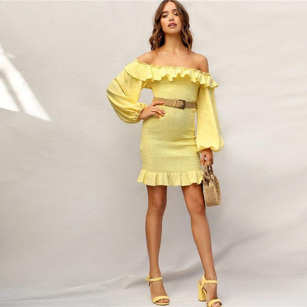 Boho Yellow Ruffle Off Shoulder Lantern Sleeve Smocked Party Dress Women Spring Solid Strapless Shirred Bodycon Dresses - RimeArodaky