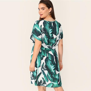 Plus V Neck Tropical Print Belted Dress Women Summer 2019 Tunic Boho Straight With Belt Plus Size Short Sleeve Dress - RimeArodaky