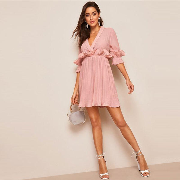 Pleated Ruffle Trim Plunging Neck Wrap Sexy Dress Women Spring Summer Pink Half Sleeve High Waist A Line Mini Dress - RimeArodaky