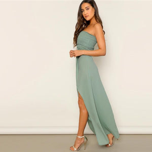 Off The Shoulder Frill Trim Smocked Slit Hem Tube Dress High Waist Green Solid Women Sleeveless Fit And Flare Dresses - RimeArodaky