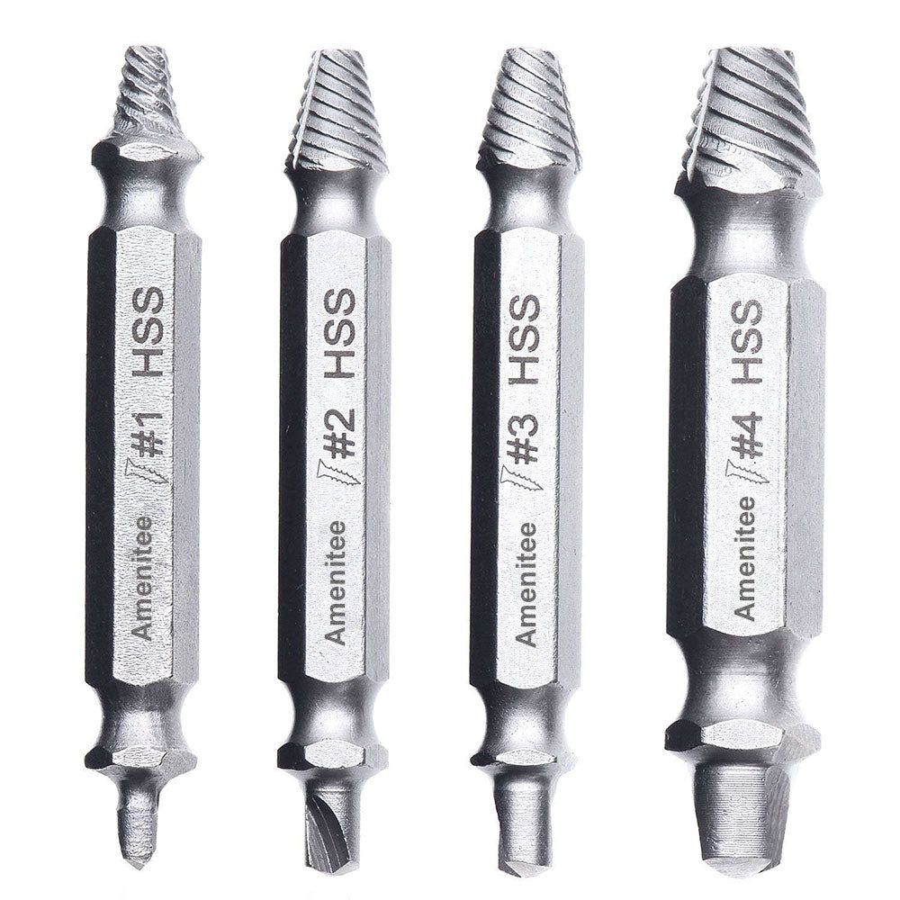 Amenitee H.S.S. Damaged & Stripped Screw Extractor, Set of 4