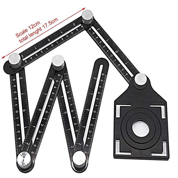 Six-sided Aluminum Measuring Tool, Tile Hole Locator