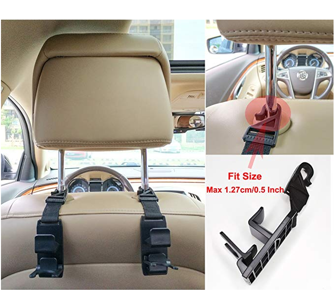 Durable Backseat Hanger & Bottle Holder (4 Pack)