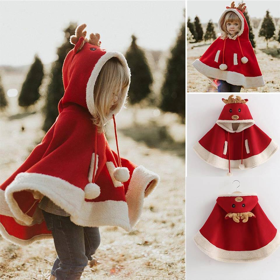 Kids Unisex Cartoon Reindeer Pompon Embellished Cloak