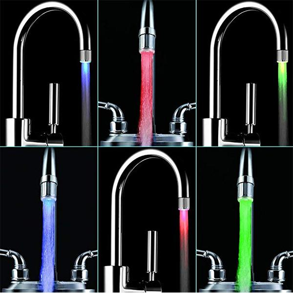 LED  Water Faucet, 3 Changing Colors Temperature Control,  7 Colors Change Casually, 2Pcs