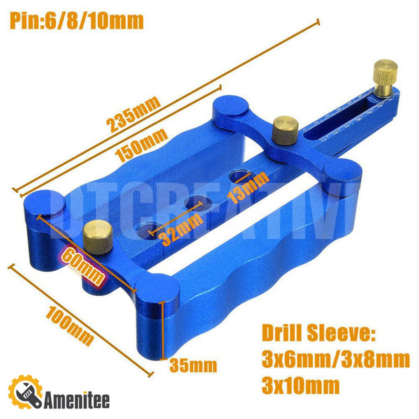 Amenitee Self-Centering Doweling Jig, 6/8/10mm Drill Set