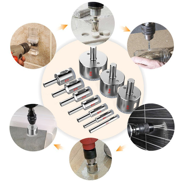 Amenitee Glass and Tile Hollow Core Drill Bits, Extractor Remover Tools