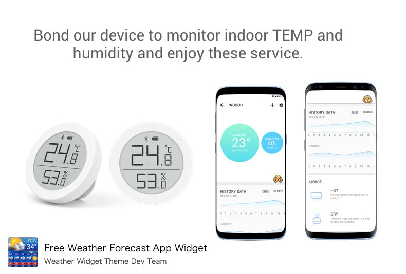Bluetooth thermometer for Free Weather Forecast App Widget