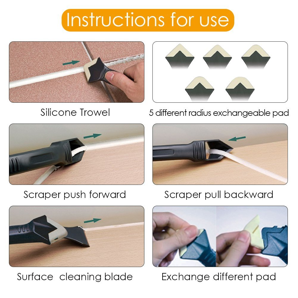 Amenitee 3 in 1 Silicone Removal and Caulking Tool Kit