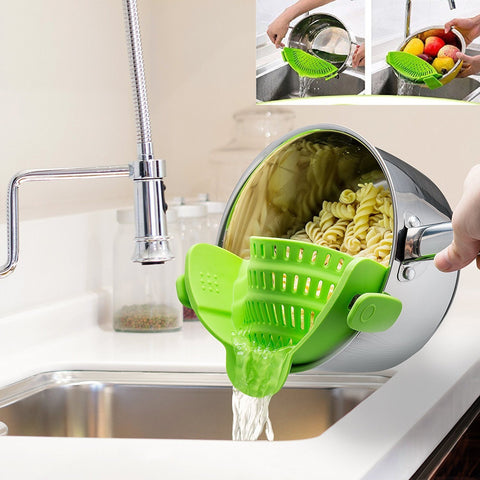 AShomie Clip-On Silicone Colander, 1 Size Fits ALL!